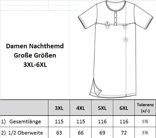 Romesa Nachthemd Langarm - Pünktchen Druck - aufwändiger Blumenstickerei - Grosse Grössen 3XL - 6XL Hellblau