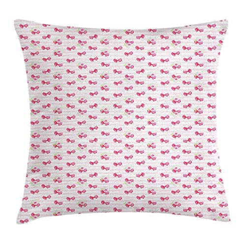 Wedding Throw Pillow Cushion Cover, Pink Bow Ties on Pastel Colored Lines Background Valentines Day Love, Decorative Square Accent Pillow Case, 18 X 18 inches, Pink White Pale Pink