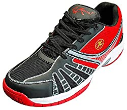 Zigaro Mens Black and Red PU Badminton Shoes - 6 UK