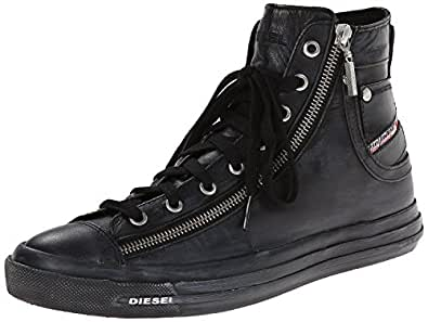 -Diesel-- Expo Zip Black Womens Leather Hi Trainers Shoes ...