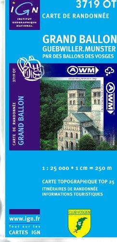 TOP25 3719OT ~ Grand Ballon, Guebwiller, Munster carte de randonnée imperméable
