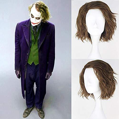Royalvirgin The Joker Cosplay Perücke, Kunsthaar, kurz, flauschig, lockig, für Herren, flachsgrüne Farbe, für Party, Cosplay, Kostüm, Halloween, Perücke