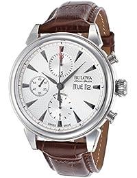 Bulova Accu Swiss Gemini Reloj automático para Hombre con Esfera cronógrafo  y Plateado Correa de Piel a79c226cbd08