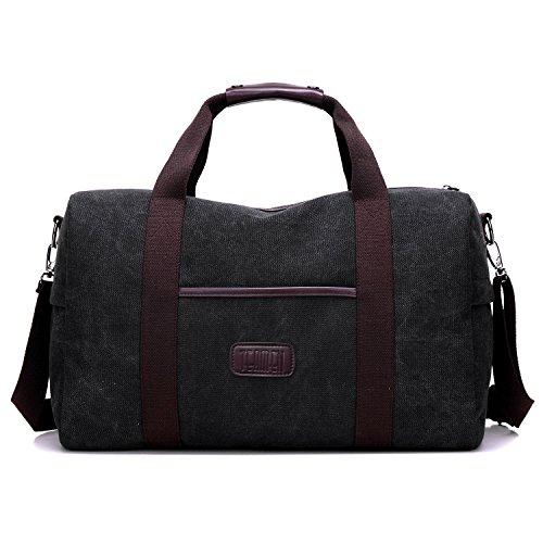 Weekender Bag Reisetasche TEAMEN Sporttasche Handtasche Canvas PU Leder Tasche Umhängetasche Schultertasche Henkeltasche 25L für Einkaufen Reisen Arbeit und Schule (schwarz)