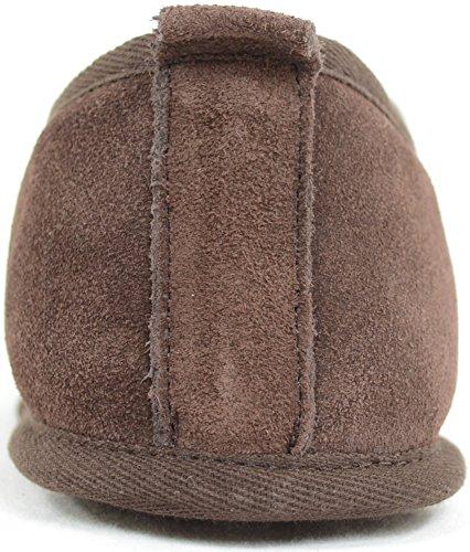 Herrenschuhe/Slipper aus Schaffell mit leichter Wildledersohle Braun
