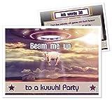 100 schöne Einladungen für Geburtstagsfete Raumschiff Galaxy - kostenloser Eindruck Ihres Wunschtextes, 17 x 12 cm groß