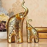 2-teilig Elefant Figur Deko Skulptur Statue Glück Deko Dekofiguren Wohnzimmer Dekoration Geschenk Kunstharz Höhe 30/17 cm Gold