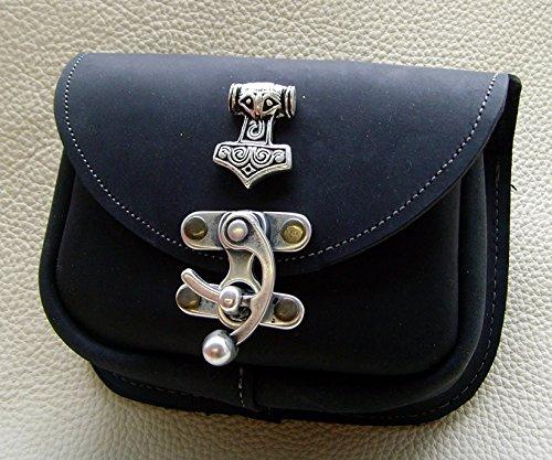 Gürteltasche kleiner Thors Hammer Leder Farbe schwarz - 3