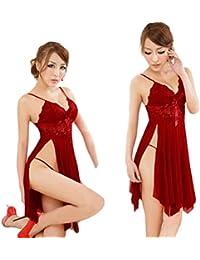STRIR Lencería Sexy Mujer Pijamas con Tanga,Mujeres Ropa Interior Vestido Halter Encaje