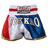 "'yokkao Muay Thai Pantalones Cortos ""Thai Flag, hecha de satén, color azul / rojo / blanco, tamaño XL (32"")"