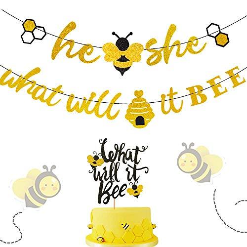 JeVenis Set von 2 was Wird es Biene Gold Glitter Banner und was Wird es Biene Cake Topper für Bumble Bee Geschlecht Reveal Party Baby Shower Dekoration (Party Reveal Dekorationen)