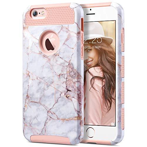 ULAK Cover per iPhone 6s, iPhone 6 Custodia con Design Slim con Doppio Strato di Protezione Anti collisioni in Silicone per Apple iPhone 6S / iPhone 6 (4.7 Pollici), Rosa Marmo