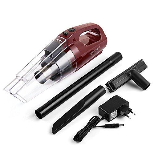 Bestek aspirapolvere portabile a manoe auto casa e cucina vacuum aspirapolvere 80w(rosso), aspirapolvere ricaricabile con l'adattatore ac 100-240v