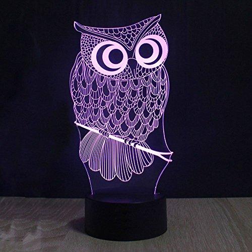 Lampe 3d Illusion Lichter der Nacht, kingcoo verstellbar 7Farben LED Acryl 3d Creative Stereo Touch Switch Visual Atmosphäre Licht Tisch, Geschenk für Weihnachten Modern Eule - 2