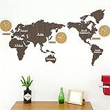 HHYS Acryl Holz Wanduhr Weltkarte Aufkleber, Kreativ Schlafzimmer Wohnzimmer Hintergrund Wanddekoration Nicht-Tickende Wanduhren, B