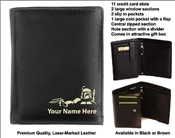 Origin Portefeuille en cuir pour homme personnaliséemarqué au laser avec votre nom Design Bounty Hunter