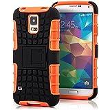 Saxonia Outdoor Silikon Schutzhülle für Samsung Galaxy S5 / S5 Neo Hybrid Case Handyhülle Schwarz-Orange