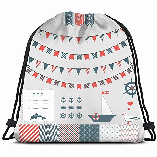fjfjfdjk sea Theme Garland Set Objects Drawstring Backpack Gym Sack Lightweight Bag Water Resistant Gym Backpack for Women&Men for Sports,Travelling,Hiking,Camping,Shopping Yoga (Garland Chevron)