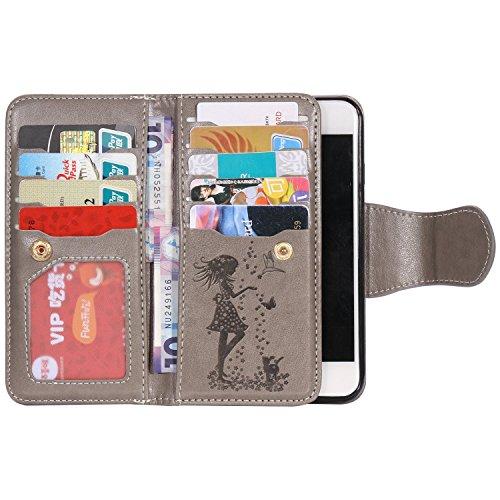 iPhone 8 Plus Case, Sunroyal Housse iPhone 7 Plus Coque Etui Portefeuille Porte-Monnaie Couverture dans le Livre de Style Stand Wallet Motif Fille Fleur Case Cover PU Flip en Cuir Carte Fente Cuir Poc Gris