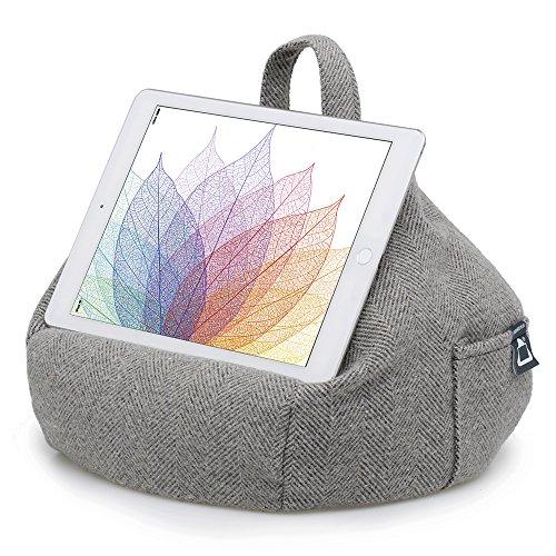 iBeani-Knautschkissen für iPads, Tablets & eReader / Halter für alle Geräte - Fischgrät Grau - Universal-travel-mobile