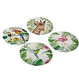 PPD Tropical Bamboo Teller, 4er Set, Servierteller, Speiseteller, Partyteller, Bambus, Mehrfarbig, Ø 24.8 cm, 603351