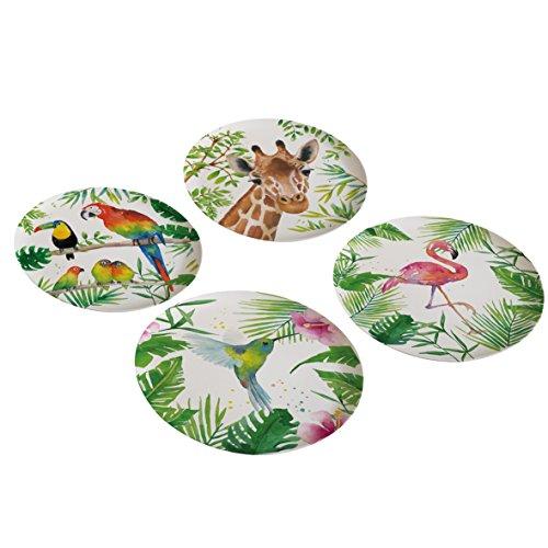 PPD Tropical Bamboo Teller, 4er Set, Servierteller, Speiseteller, Partyteller, Bambus, Mehrfarbig,...