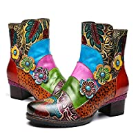 gracosy Womens Boots Leather Ankle Boots Ladies Comfy Low Block Heel Winter Warm Snow Booties Vintage Bohemian Handmade Flower Splicing Leather Flat Round Toe Outdoor Walking Boots Shoes Blue 5 UK