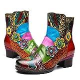 Camfosy Damen Leder Stiefeletten mit Absatz,Dame Warme Kurze Stiefel mit Handgemachten Muster Seitlichem Reißverschluss Komfortable Elegant Mittlere Ferse Schuhe Original Bohemian