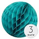 Simplydeko Wabenbälle Türkis - Honeycomb Lampions für Party und Hochzeit - 3er Set handgefertigte Papierkugeln (Türkis Mint, 30 cm)