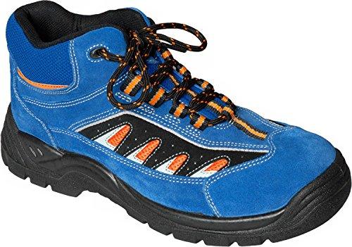 1 Paar Sicherheitsschuhe S1P Alabama Schnürstiefel hochwertiges Veloursleder Blau Gr. 36-48 Blau