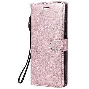 Docrax Handyhülle Lederhülle für Huawei P Smart Z, Flip Case Schutzhülle Hülle mit Standfunktion Kartenfach Magnet Brieftasche für Huawei P Smart Z - DOKTU100180 Rosa Gold