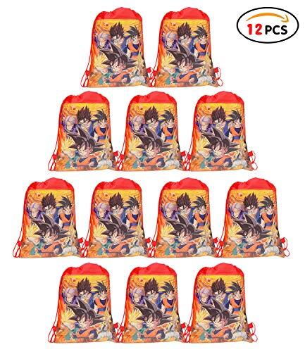 Qemsele 12 pezzi borse festa per bambini, cartone borse sacca zaino con coulisse sacchettini del per bambini tema festa di compleanno bambini bomboniare borsa sacchetto festa (dragonball)