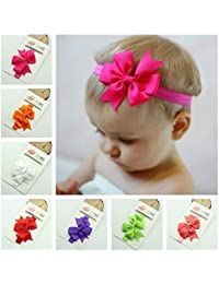 OULII 15 Colors Cute Infant Baby Girls Sweet Bowknot Style Elastic Headbands Hair Bands Hair Accessories Photo Props
