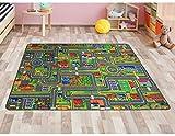 Spielteppich Autoteppich Straßenteppich Streets - 95x200 cm, Anti-Schmutz-Schicht, Auto-Spielteppich für Mädchen & Jungen, Kinderteppich Strasse Fußbodenheizung geeignet