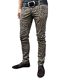 Mens & Unisex Leopard Animal Print Indie Punk Drainpipe Trousers