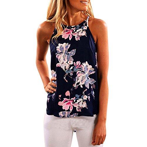 Crochet Tank Top Mit Muster (LILICAT Frauen Ärmellos Blume Bedruckt Tank Top shirt Damen Beiläufig Bluse Böhmen Weste Mode T-Shirt (S, Dunkel Blau))