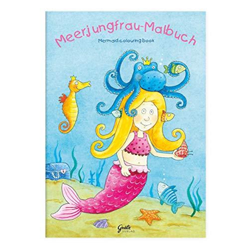 Grätz Verlag Kinder lieben Ausmalen! - Malbuch Meerjungfrau mit Verschiedenen Wasser-/Unterwassermotiven und Meerestieren, mit Meerjungfrau usw., für Jungen und Mädchen ab 3 Jahren - Mädchen Malbuch,