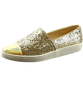 Sopily - Scarpe da Moda ballerina alla caviglia donna lucide paillette verniciato Tacco a blocco 2 CM - Oro