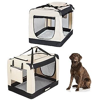 TecTake Cage Box de Transport pour Chien Chat Pliable Beige - diverses tailles au choix - (