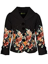 Cutecumber Girls Polyester Floral Printed Black Full Sleeve Coat -(1988A-Black-16)