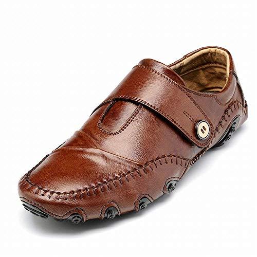 Oudan Männer Leder Erbsen Schuhe Große Größe Casual Schuhe Männer Fahren Faule Schuhe Handgemachte Sätze von Schuhen (Farbe : Braun, Größe : 45) (Botas De Mujer Altas)
