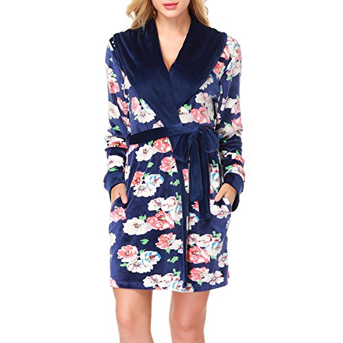 Sesy donna in flanella vestaglia in pile lusso accappatoio lounge pigiama lungo accappatoio