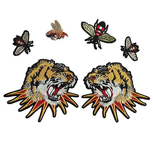 Sell Tiger Kopf Rosen Schmetterlinge Patches für Kleidung Aufbügeln Stickerei Applikationen DIY Kleidung Zubehör Patches für Kleidung Stoff Badg Color 3 ()