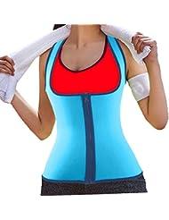DODOING Damen Zipper Sport Neopren Abnehmen Fitnessgürtel Bauch Korsett Körper Shaper Kompressions Sweat Vest Hot Neopren Sauna Tank Top Weste für Gewichtsverlust