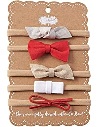 Mud Pie 5 Piece Holiday Leather Bow Headband Gift Set