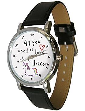 All You Need Is Love, und A Unicorn Armbanduhr. Das perfekte Einhorn Liebhaber Geschenk. Echt Leder Gurt