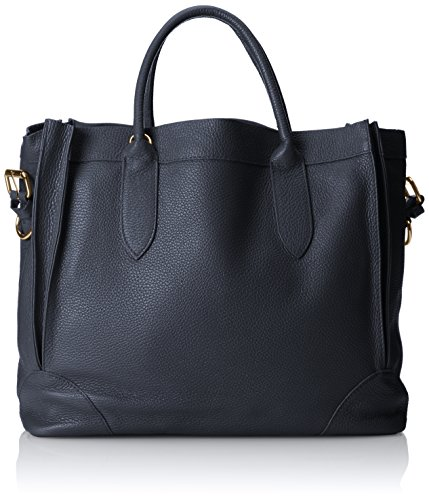 CTM Borsa elegante a mano da donna, borsa a sacca in morbida pelle made in Italy 37x30x15 Cm Blu