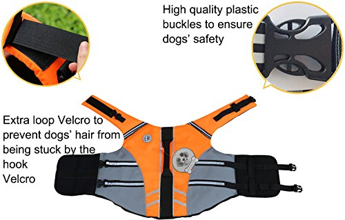 VIVAGLORY New Sports Style Ripstop Dog Life Jacket with Superior Buoyancy & Rescue Handle 4