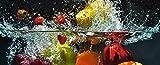 Artland Qualität I Glas Küchenrückwand ESG Spritzschutz Küche 120 x 48 cm Obst Foto Bunt F1SW Spritzendes Obst auf Dem Wasser