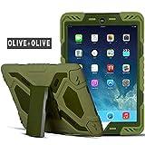 Meiya iPad Air 2 Coque,New Robuste Rsistant aux Chocs salet Neige Sable Proof Survivor Extreme Heavy Duty Etui iPad Air 2 Enfant Cadeau Pochette pour iPad Air 2 iPad 6(Olive+Olive)